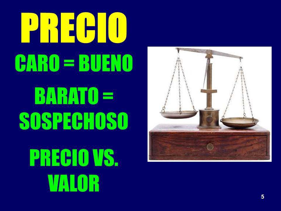 5 PRECIO CARO = BUENO BARATO = SOSPECHOSO PRECIO VS. VALOR