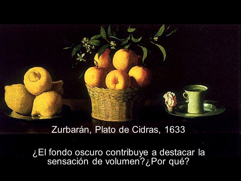 Zurbarán, Plato de Cidras, 1633 ¿El fondo oscuro contribuye a destacar la sensación de volumen?¿Por qué?