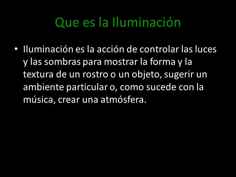 Que es la Iluminación Iluminación es la acción de controlar las luces y las sombras para mostrar la forma y la textura de un rostro o un objeto, suger