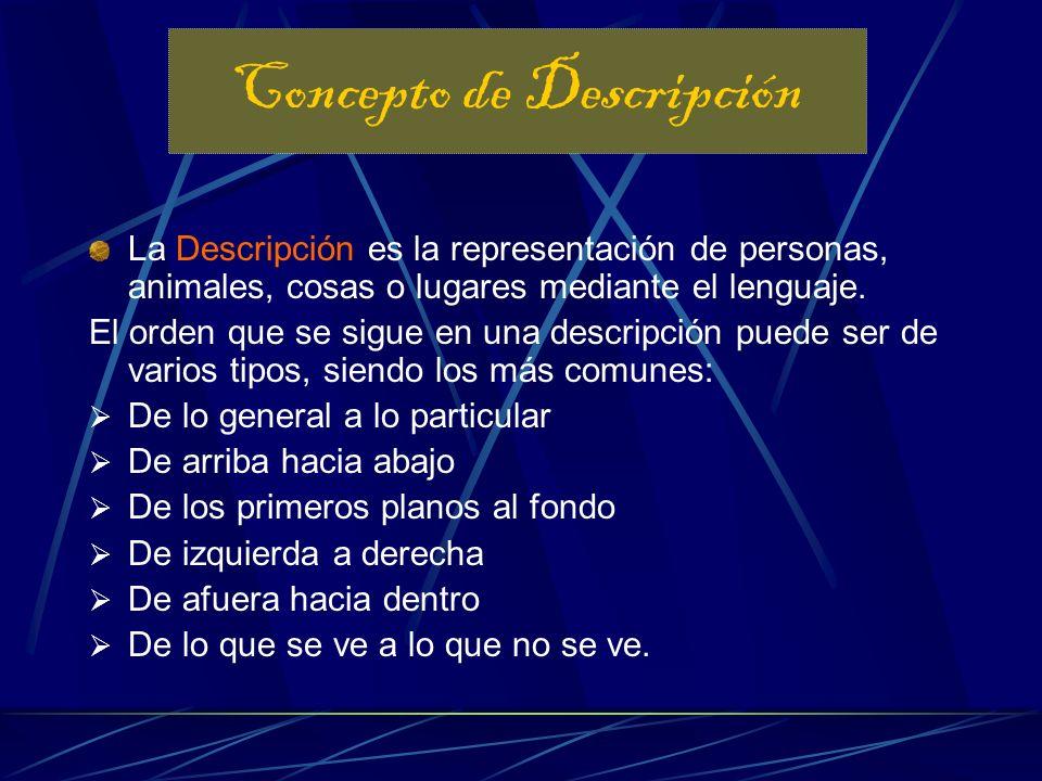 Describir es explicar, de forma detallada y ordenada, cómo son las personas, los lugares o los objetos. La descripción sirve sobre todo para ambientar