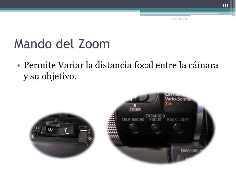 Mando del Zoom Permite Variar la distancia focal entre la cámara y su objetivo. 04/02/2014 10