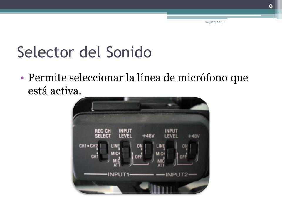 Selector del Sonido 04/02/2014 9 Permite seleccionar la línea de micrófono que está activa.