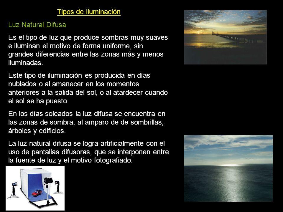 Tipos de iluminación Luz Natural Difusa Es el tipo de luz que produce sombras muy suaves e iluminan el motivo de forma uniforme, sin grandes diferenci