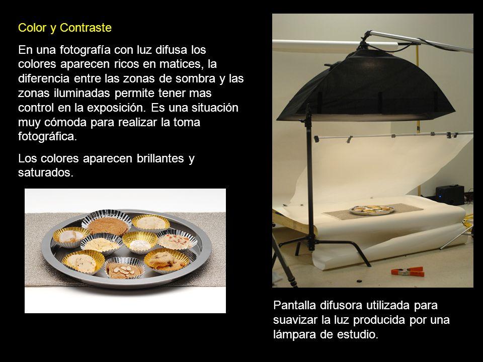 Pantalla difusora utilizada para suavizar la luz producida por una lámpara de estudio. Color y Contraste En una fotografía con luz difusa los colores