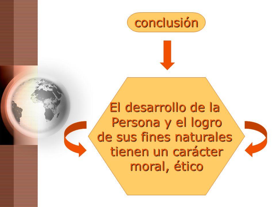 El desarrollo de la Persona y el logro de sus fines naturales tienen un carácter moral, ético conclusión