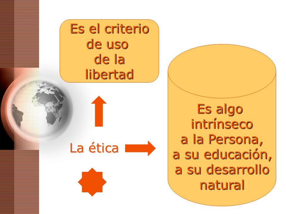La ética Es algo intrínseco a la Persona, a su educación, a su educación, a su desarrollo natural Es el criterio de uso de la libertad