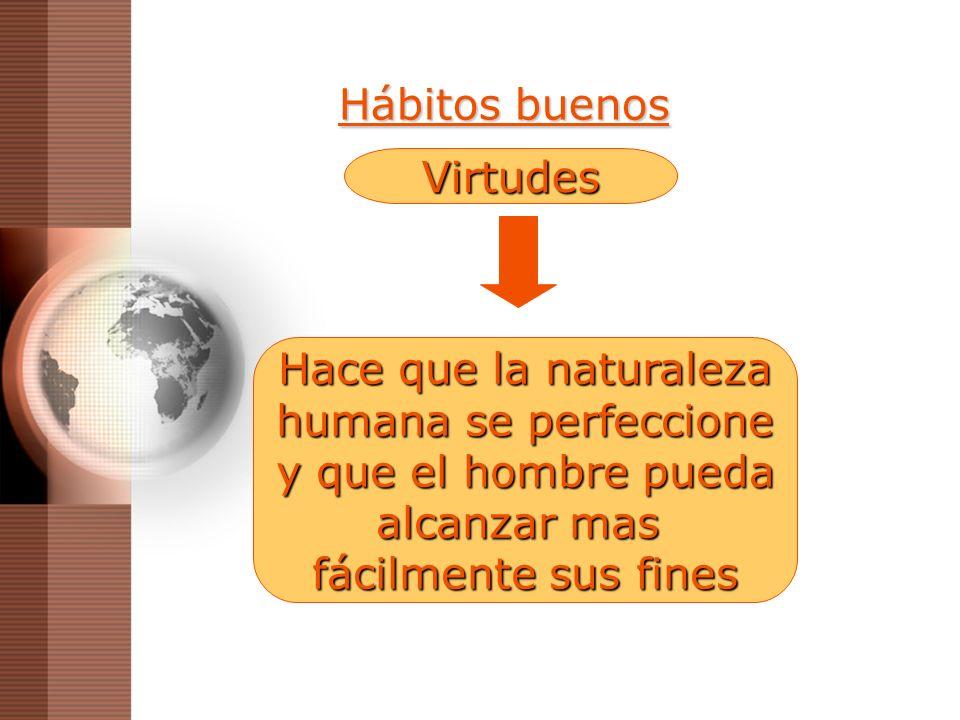 Hábitos buenos Hace que la naturaleza humana se perfeccione y que el hombre pueda alcanzar mas fácilmente sus fines Virtudes