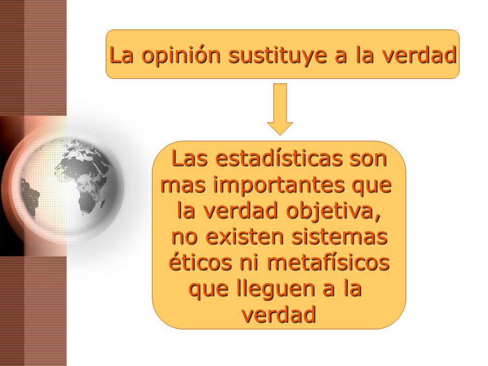 La opinión sustituye a la verdad Las estadísticas son mas importantes que la verdad objetiva, no existen sistemas éticos ni metafísicos que lleguen a