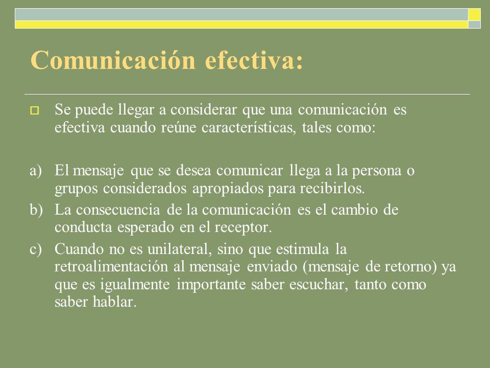 Comunicación efectiva: Se puede llegar a considerar que una comunicación es efectiva cuando reúne características, tales como: a) El mensaje que se desea comunicar llega a la persona o grupos considerados apropiados para recibirlos.