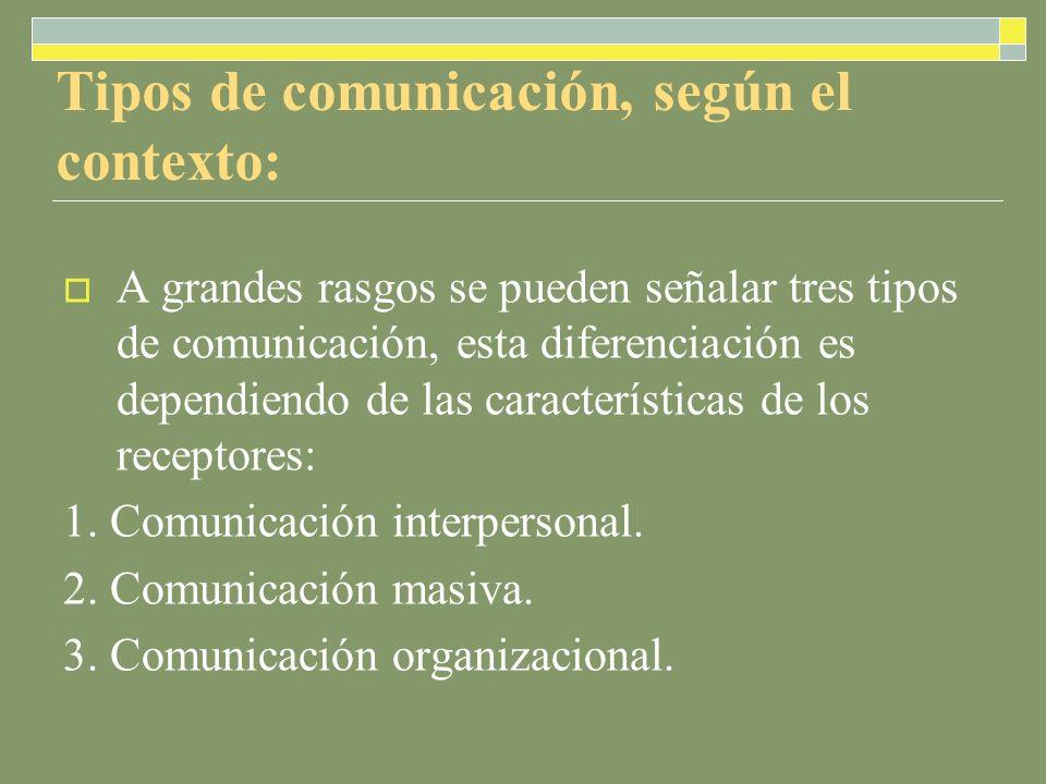 Tipos de comunicación, según el contexto: A grandes rasgos se pueden señalar tres tipos de comunicación, esta diferenciación es dependiendo de las características de los receptores: 1.