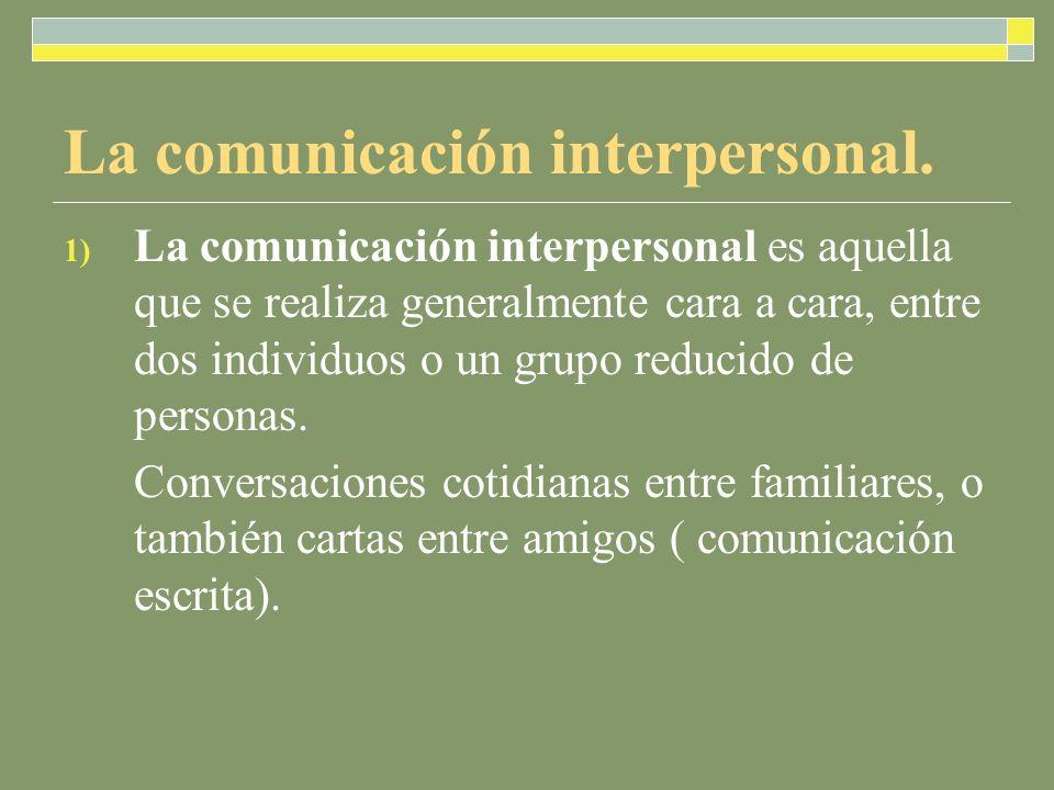 1) La comunicación interpersonal es aquella que se realiza generalmente cara a cara, entre dos individuos o un grupo reducido de personas. Conversacio