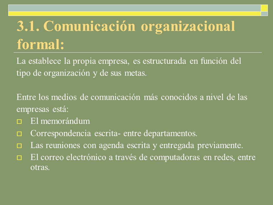 3.1. Comunicación organizacional formal: La establece la propia empresa, es estructurada en función del tipo de organización y de sus metas. Entre los