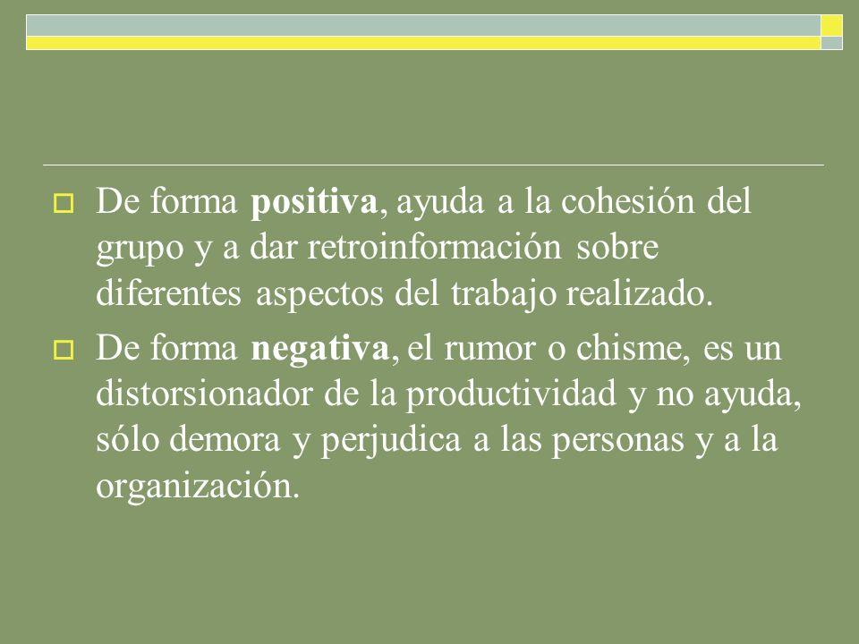 De forma positiva, ayuda a la cohesión del grupo y a dar retroinformación sobre diferentes aspectos del trabajo realizado.