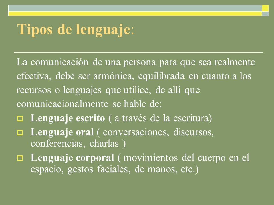 Tipos de lenguaje: La comunicación de una persona para que sea realmente efectiva, debe ser armónica, equilibrada en cuanto a los recursos o lenguajes