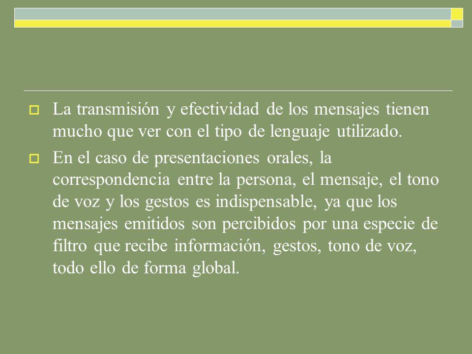 La transmisión y efectividad de los mensajes tienen mucho que ver con el tipo de lenguaje utilizado.