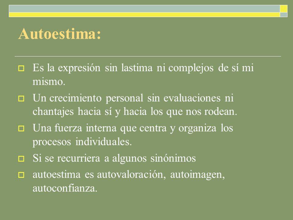 Autoestima: Es la expresión sin lastima ni complejos de sí mi mismo.