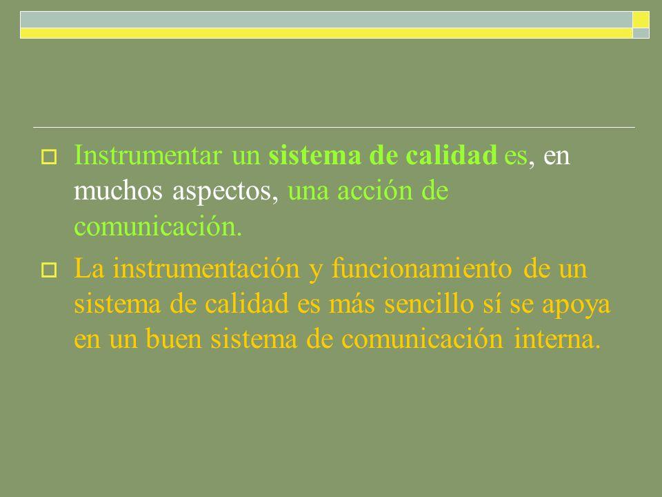 Instrumentar un sistema de calidad es, en muchos aspectos, una acción de comunicación. La instrumentación y funcionamiento de un sistema de calidad es