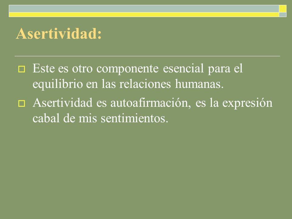 Asertividad: Este es otro componente esencial para el equilibrio en las relaciones humanas.