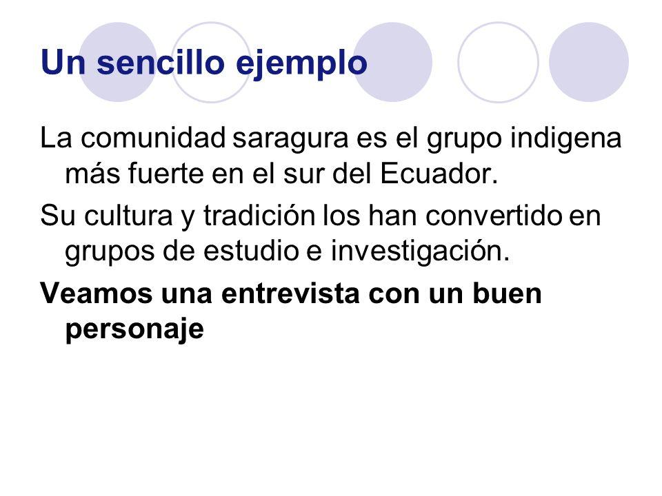 Un sencillo ejemplo La comunidad saragura es el grupo indigena más fuerte en el sur del Ecuador. Su cultura y tradición los han convertido en grupos d