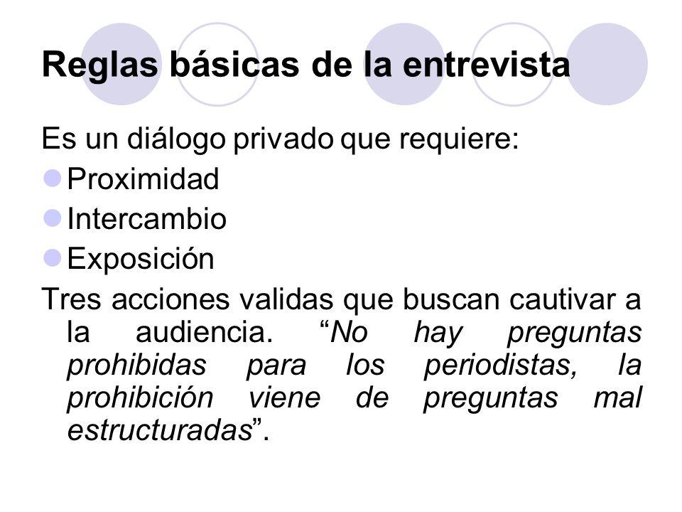 Es un diálogo privado que requiere: Proximidad Intercambio Exposición Tres acciones validas que buscan cautivar a la audiencia. No hay preguntas prohi