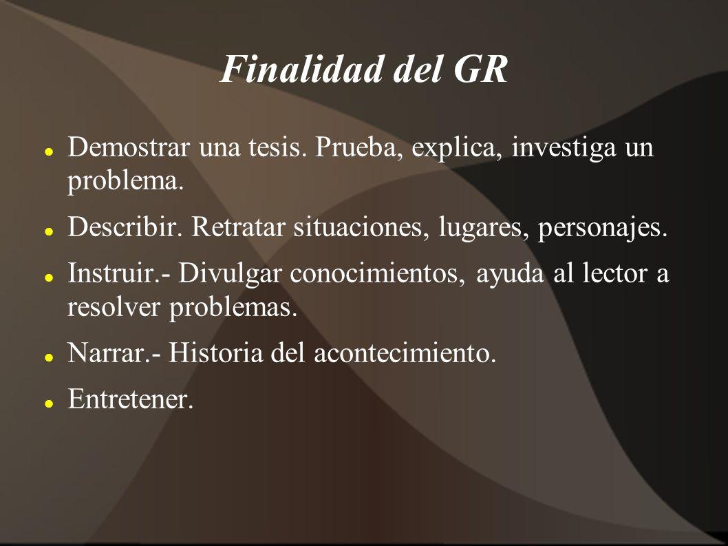 Finalidad del GR Demostrar una tesis. Prueba, explica, investiga un problema. Describir. Retratar situaciones, lugares, personajes. Instruir.- Divulga