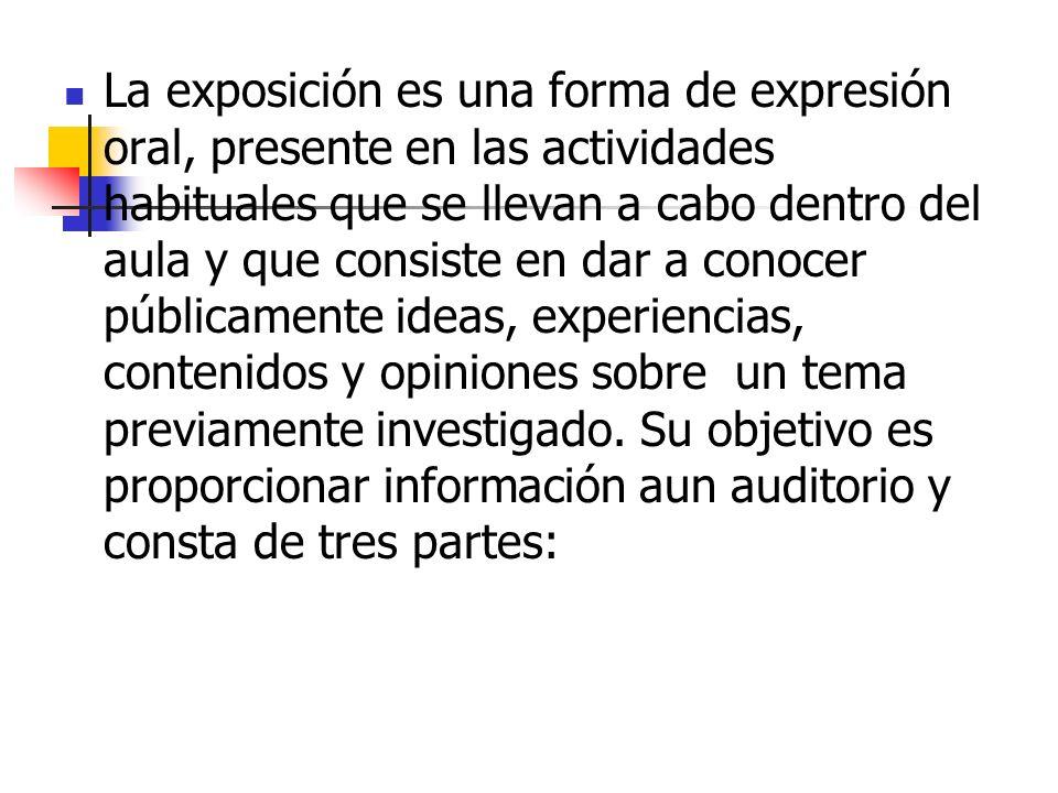 La exposición es una forma de expresión oral, presente en las actividades habituales que se llevan a cabo dentro del aula y que consiste en dar a cono