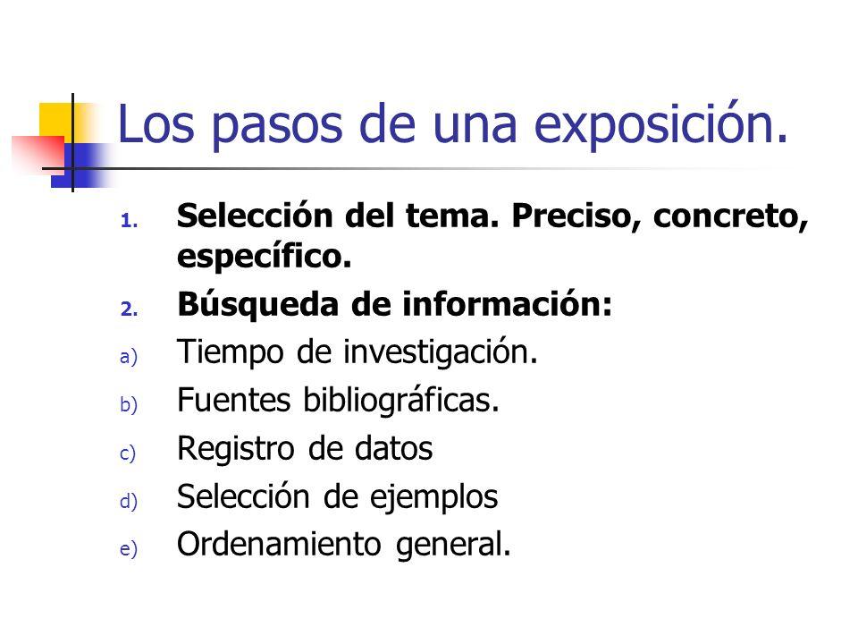 Los pasos de una exposición. 1. Selección del tema. Preciso, concreto, específico. 2. Búsqueda de información: a) Tiempo de investigación. b) Fuentes