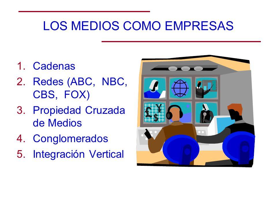 LOS MEDIOS COMO EMPRESAS 1.Cadenas 2.Redes (ABC, NBC, CBS, FOX) 3.Propiedad Cruzada de Medios 4.Conglomerados 5.Integración Vertical