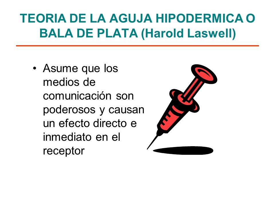 TEORIA DE LA AGUJA HIPODERMICA O BALA DE PLATA (Harold Laswell) Asume que los medios de comunicación son poderosos y causan un efecto directo e inmediato en el receptor