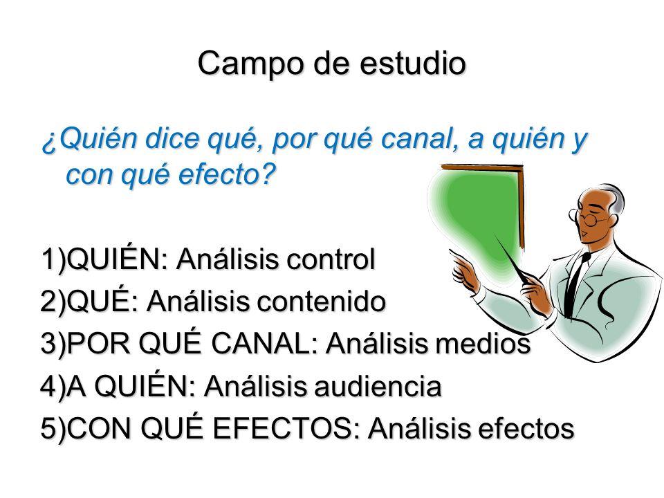 Campo de estudio ¿Quién dice qué, por qué canal, a quién y con qué efecto.