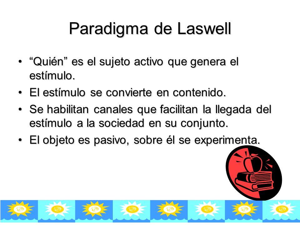 Paradigma de Laswell Quién es el sujeto activo que genera el estímulo.Quién es el sujeto activo que genera el estímulo.