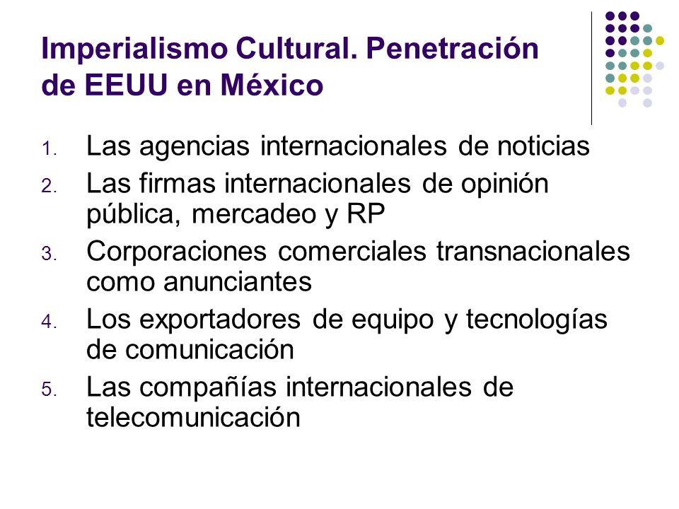 Imperialismo Cultural. Penetración de EEUU en México 1. Las agencias internacionales de noticias 2. Las firmas internacionales de opinión pública, mer