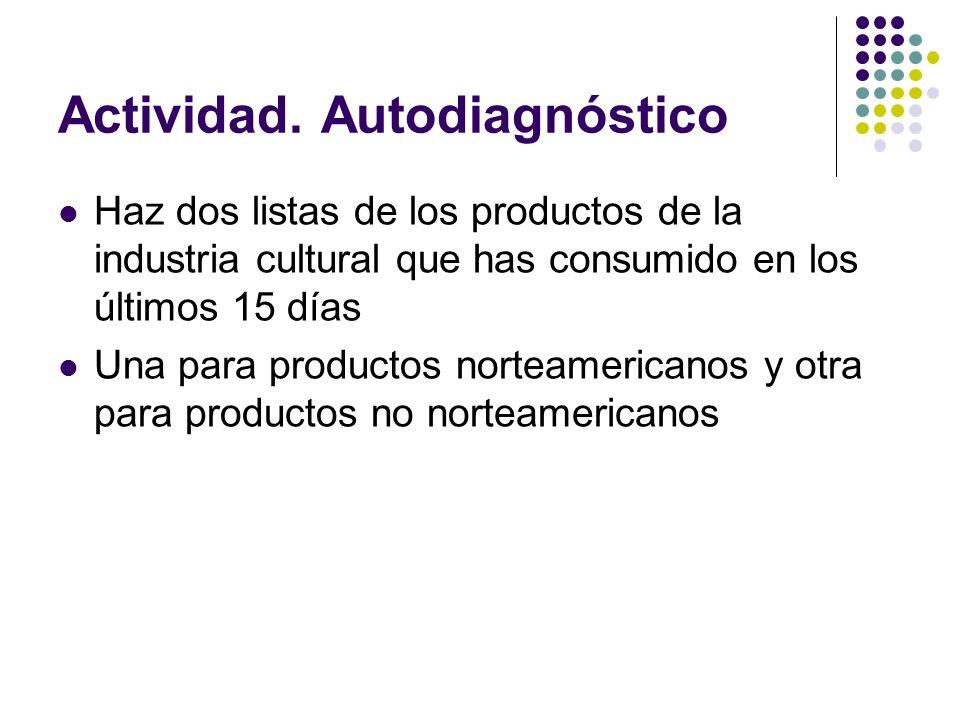 Actividad. Autodiagnóstico Haz dos listas de los productos de la industria cultural que has consumido en los últimos 15 días Una para productos nortea