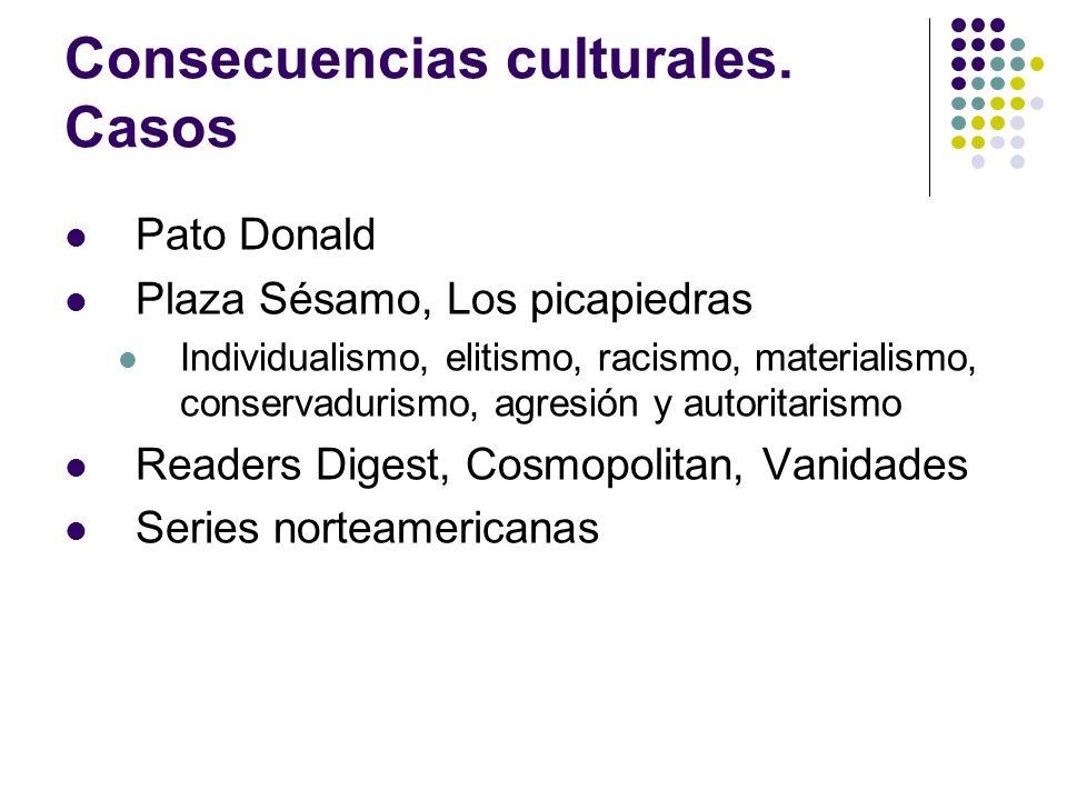 Consecuencias culturales. Casos Pato Donald Plaza Sésamo, Los picapiedras Individualismo, elitismo, racismo, materialismo, conservadurismo, agresión y