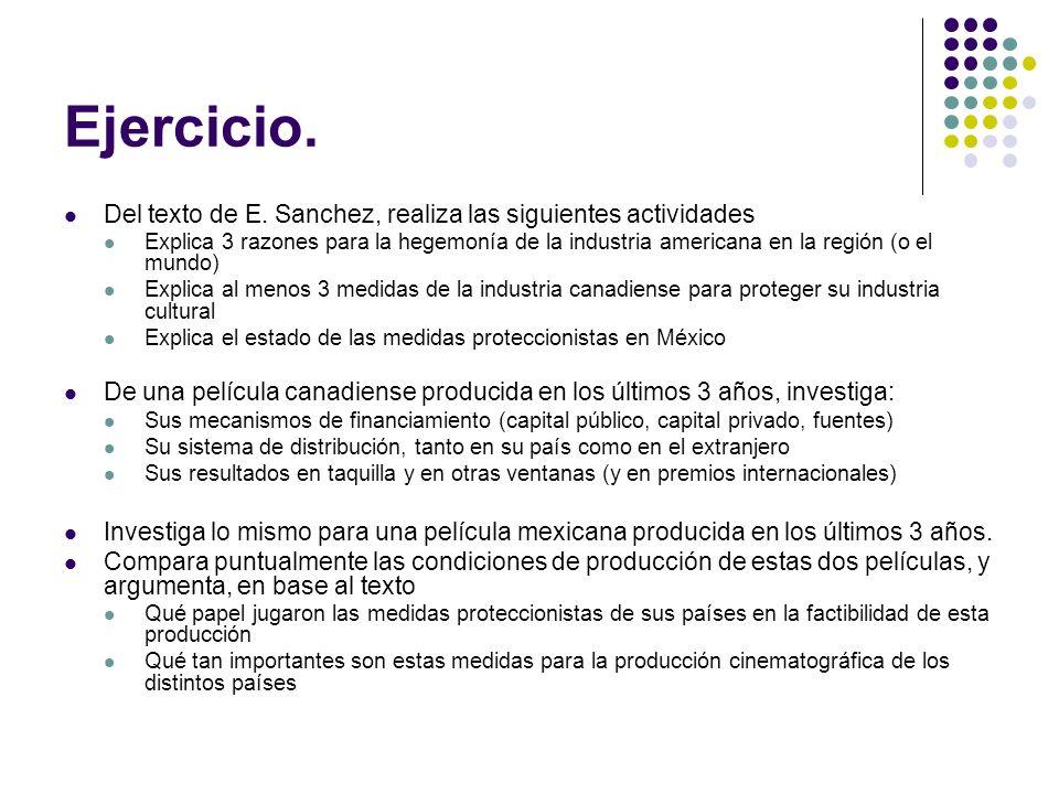 Ejercicio. Del texto de E. Sanchez, realiza las siguientes actividades Explica 3 razones para la hegemonía de la industria americana en la región (o e