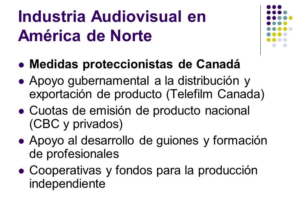 Industria Audiovisual en América de Norte Medidas proteccionistas de Canadá Apoyo gubernamental a la distribución y exportación de producto (Telefilm
