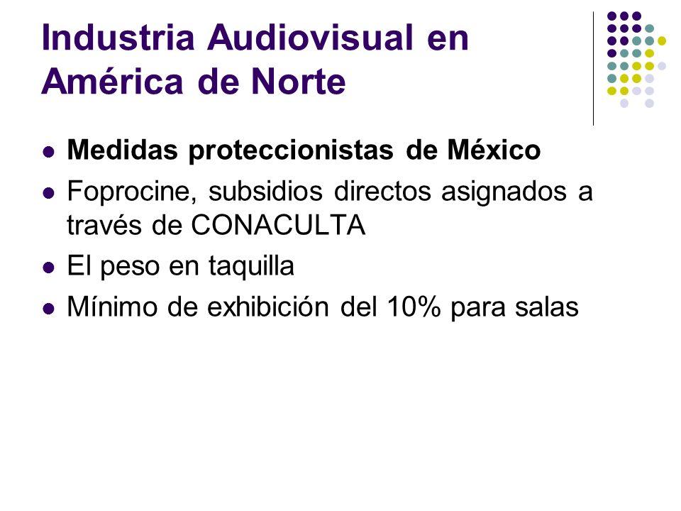 Industria Audiovisual en América de Norte Medidas proteccionistas de México Foprocine, subsidios directos asignados a través de CONACULTA El peso en t