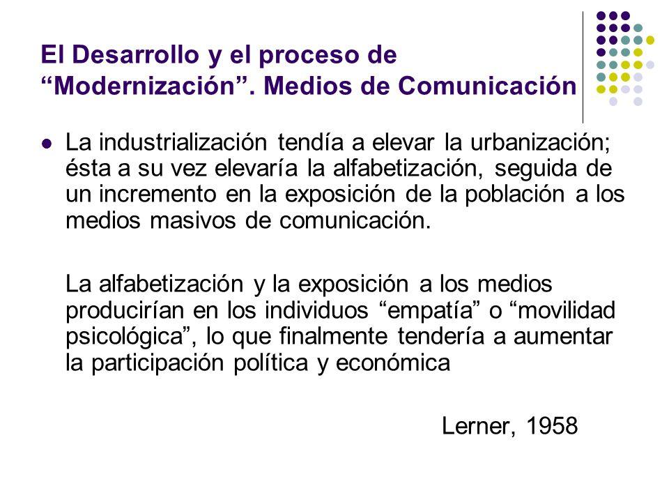 El Desarrollo y el proceso de Modernización. Medios de Comunicación La industrialización tendía a elevar la urbanización; ésta a su vez elevaría la al