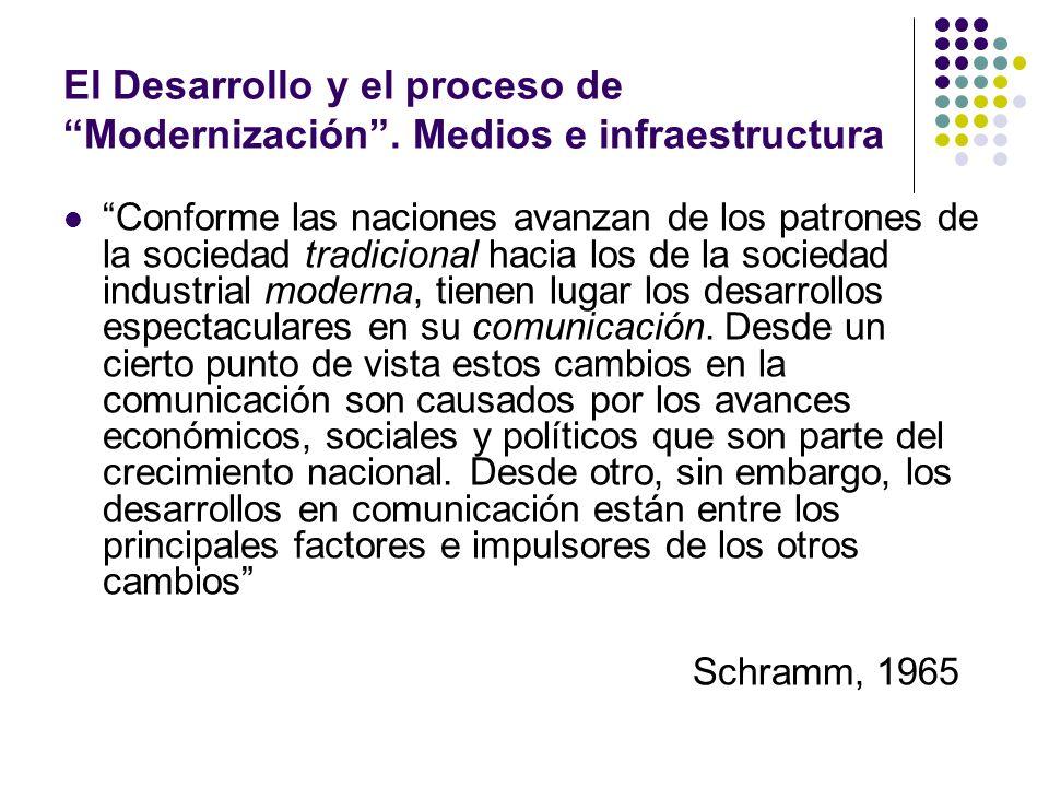 El Desarrollo y el proceso de Modernización. Medios e infraestructura Conforme las naciones avanzan de los patrones de la sociedad tradicional hacia l