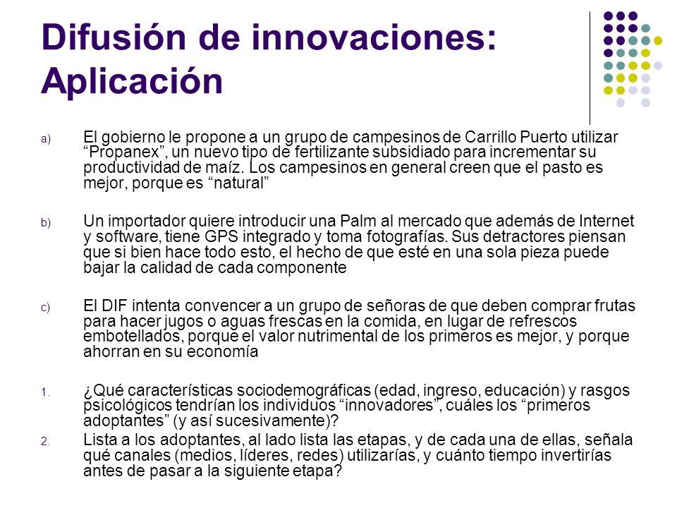 Difusión de innovaciones: Aplicación a) El gobierno le propone a un grupo de campesinos de Carrillo Puerto utilizar Propanex, un nuevo tipo de fertili