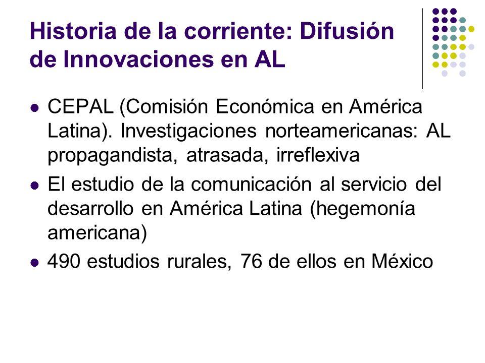 Historia de la corriente: Difusión de Innovaciones en AL CEPAL (Comisión Económica en América Latina). Investigaciones norteamericanas: AL propagandis