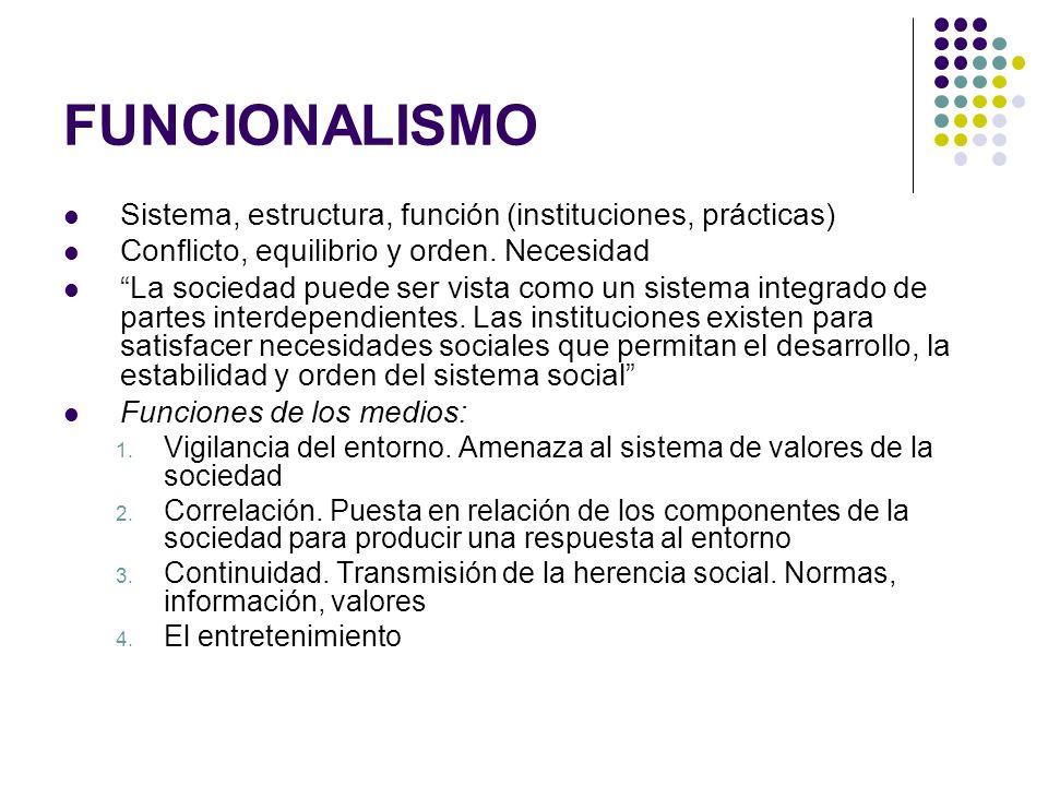 FUNCIONALISMO Sistema, estructura, función (instituciones, prácticas) Conflicto, equilibrio y orden. Necesidad La sociedad puede ser vista como un sis