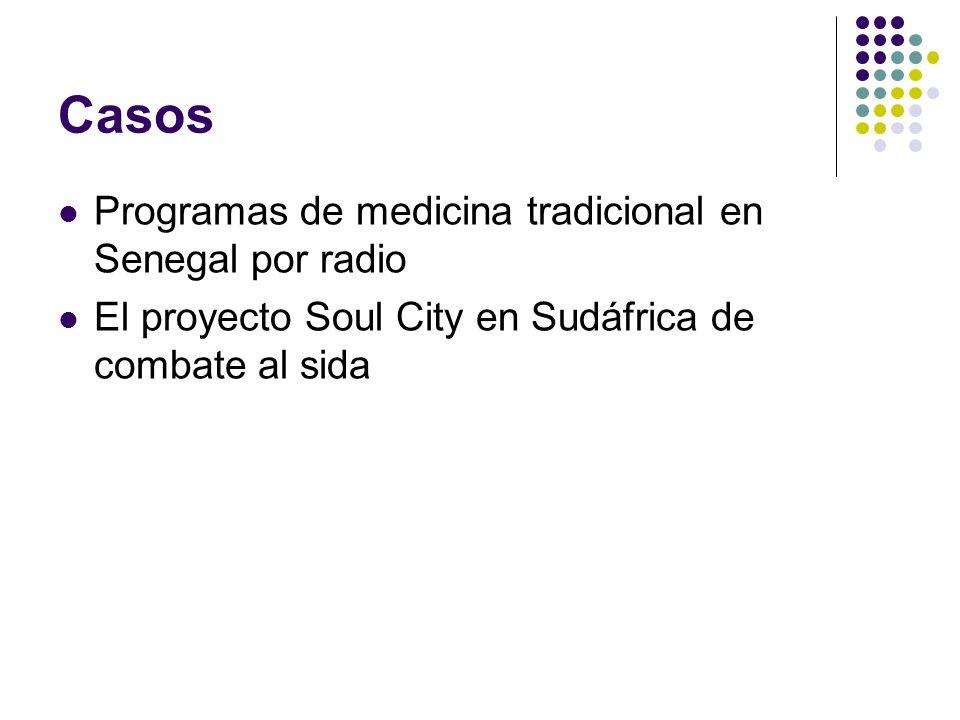 Casos Programas de medicina tradicional en Senegal por radio El proyecto Soul City en Sudáfrica de combate al sida
