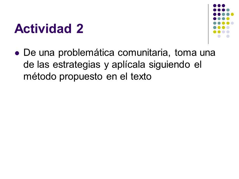 Actividad 2 De una problemática comunitaria, toma una de las estrategias y aplícala siguiendo el método propuesto en el texto