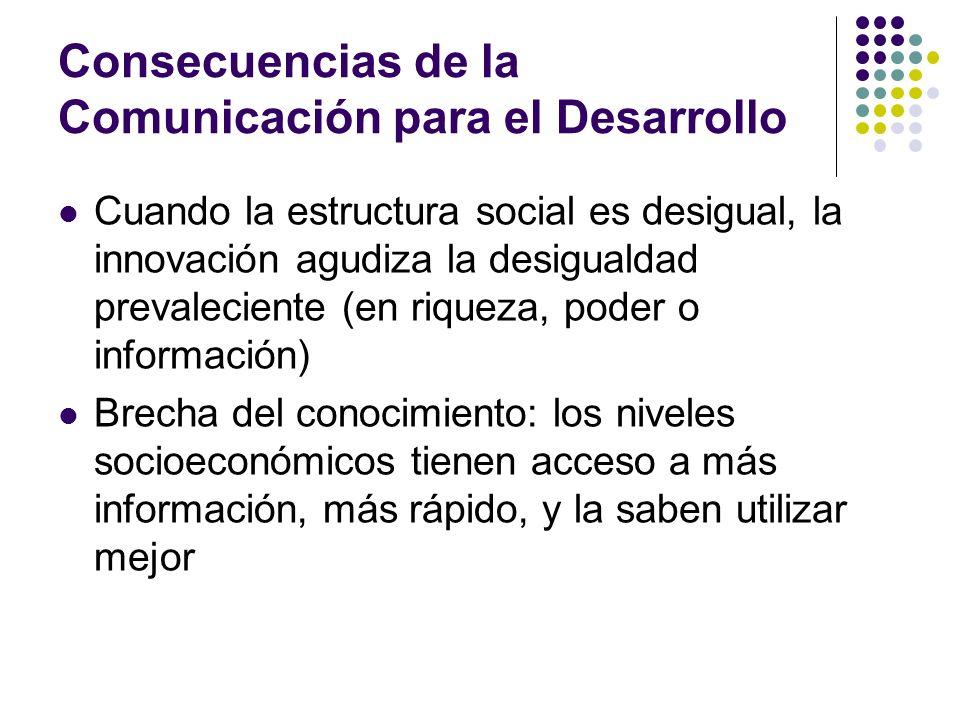 Consecuencias de la Comunicación para el Desarrollo Cuando la estructura social es desigual, la innovación agudiza la desigualdad prevaleciente (en ri