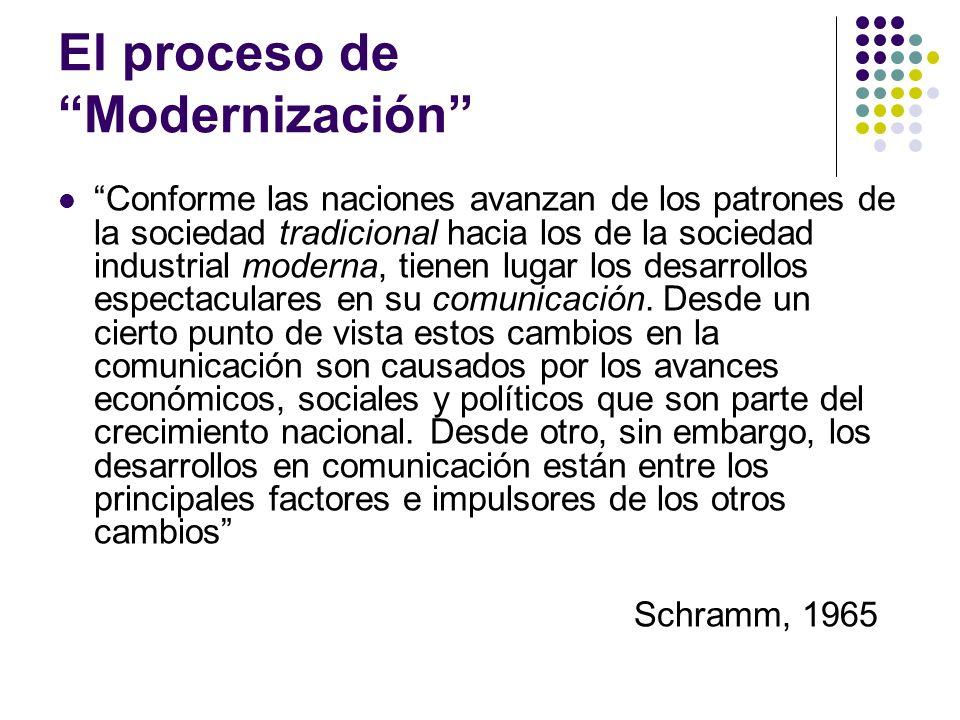 El proceso de Modernización Conforme las naciones avanzan de los patrones de la sociedad tradicional hacia los de la sociedad industrial moderna, tien