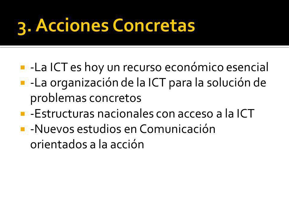 -La ICT es hoy un recurso económico esencial -La organización de la ICT para la solución de problemas concretos -Estructuras nacionales con acceso a la ICT -Nuevos estudios en Comunicación orientados a la acción