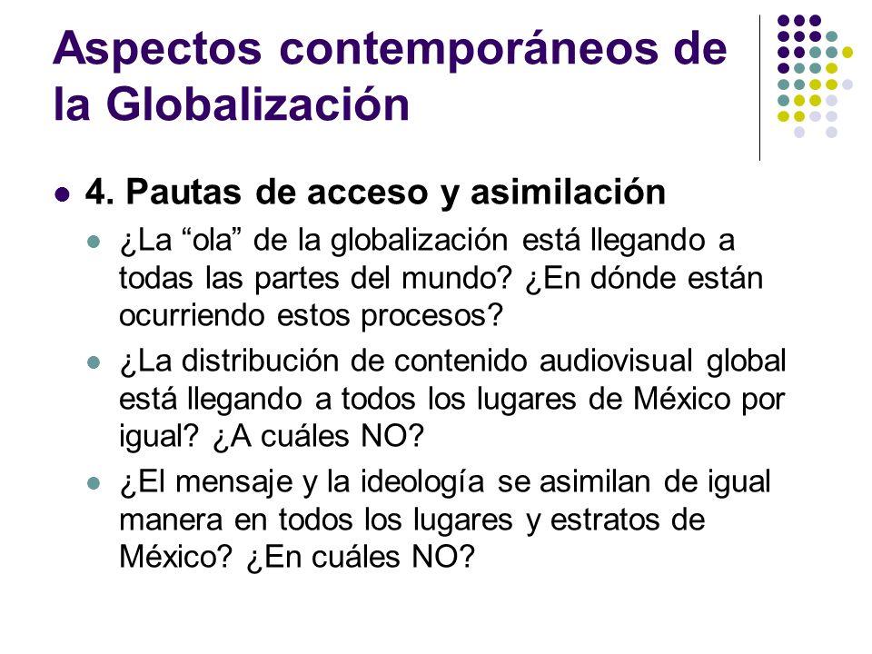 Aspectos contemporáneos de la Globalización 4. Pautas de acceso y asimilación ¿La ola de la globalización está llegando a todas las partes del mundo?