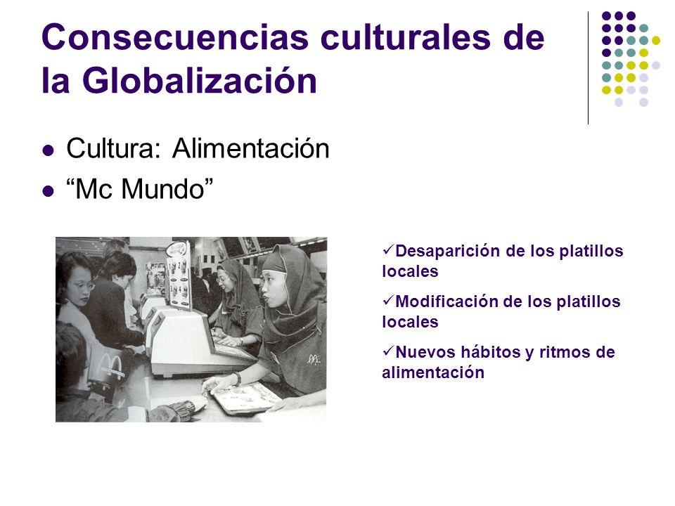 Consecuencias culturales de la Globalización Cultura: Alimentación Mc Mundo Desaparición de los platillos locales Modificación de los platillos locale