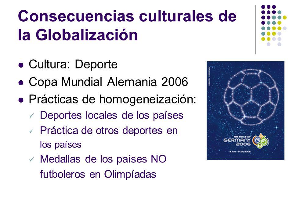 Consecuencias culturales de la Globalización Cultura: Deporte Copa Mundial Alemania 2006 Prácticas de homogeneización: Deportes locales de los países